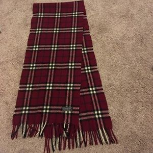 Red nova check Burberry scarf 100% lambswool